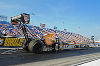 Jun. 29, 2012; Joliet, IL, USA: NHRA top fuel dragster driver Tony Schumacher during qualifying for the Route 66 Nationals at Route 66 Raceway. Mandatory Credit: Mark J. Rebilas-