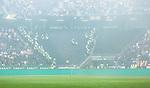 Solna 2014-08-13 Fotboll Allsvenskan AIK - Djurg&aring;rdens IF :  <br /> Poliser bildar rader p&aring; en tom l&auml;ktarsektion mellan AIK:s och Djurg&aring;rdens supportrar innan avspark<br /> (Foto: Kenta J&ouml;nsson) Nyckelord:  AIK Gnaget Friends Arena Allsvenskan Derby Djurg&aring;rden DIF polis supporter fans publik supporters