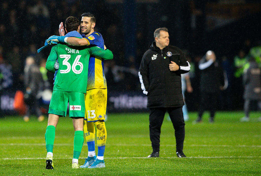 Leeds United's Kiko Casilla gives Luton Town's James Shea a hug after the match<br /> <br /> Photographer Alex Dodd/CameraSport<br /> <br /> The EFL Sky Bet Championship - 191123 Luton Town v Leeds United - Saturday 23rd November 2019 - Kenilworth Road - Luton<br /> <br /> World Copyright © 2019 CameraSport. All rights reserved. 43 Linden Ave. Countesthorpe. Leicester. England. LE8 5PG - Tel: +44 (0) 116 277 4147 - admin@camerasport.com - www.camerasport.com