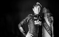 race winner Geraint Thomas (GBR/SKY), backstage next to Miss Belgium 2015 on the podium after winning the 58th E3 Harelbeke