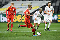 30th July 2020; Bankwest Stadium, Parramatta, New South Wales, Australia; A League Football, Adelaide United versus Perth Glory; Riley McGree of Adelaide United prepares to take a penalty which is saved by goalie Liam Reddy of Perth Glory