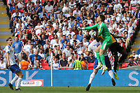 Newport County goalkeeper, Scott Davies, punches the ball clear during Newport County vs Tranmere Rovers, Sky Bet EFL League 2 Play-Off Final Football at Wembley Stadium on 25th May 2019