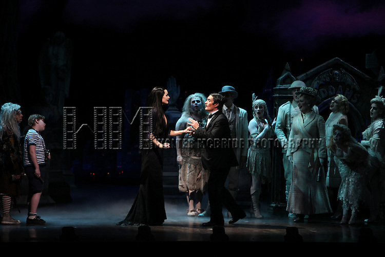 Brooke Shields as Morticia Addams & Roger Rees with Ensemble.at the Curtain Call for her debut in 'The Addams Family' at the Lunt-Fontanne Theatre  in New York City.