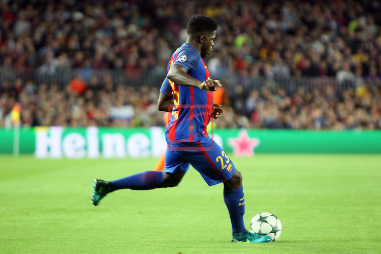 UEFA Champions League 2016/2017 - Matchday 3.<br /> FC Barcelona vs Manchester City FC: 4-0.<br /> Samuel Umtiti.