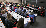 Attendees participate in the final town hall meeting hosted by the Strategic Planning Task Force, Wednesday, Nov. 15, 2017, at The Loop Campus. Faculty, staff and students were asked to provide ideas and suggestions to the various planning teams. (DePaul University/Jamie Moncrief)