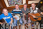 Colm Laehy(Athea), Trevor Cahill(Abbeyfeale), Jerry O'Sullivan(Castlemahon) and Tom Neville(Foynes) playing last Friday in Hickey's Bar, Knocknagoshalfor the annual Nelus O'Connor Traditional Music Weekend