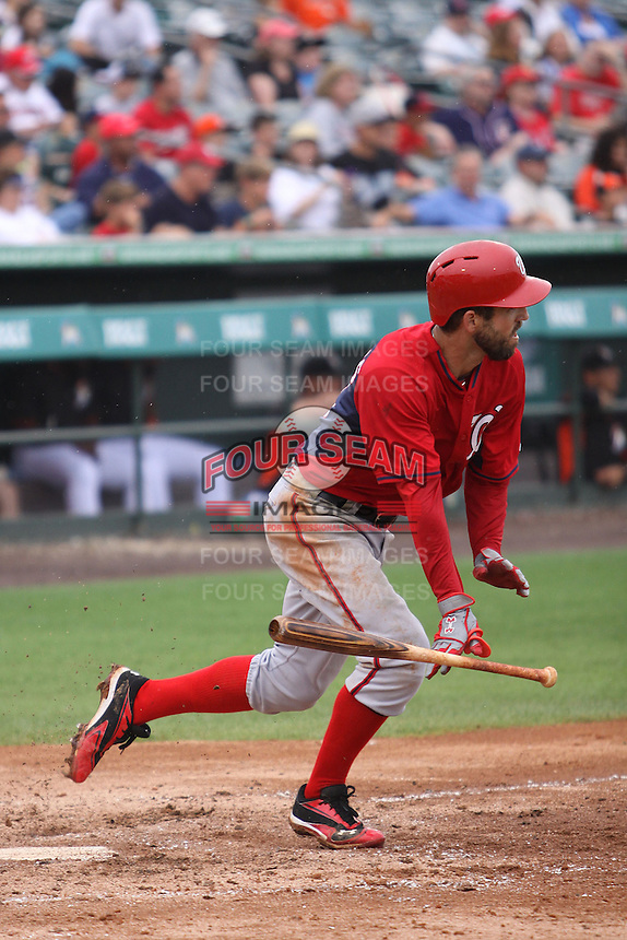 Jeff Kobernus (26) of the Washington Nationals at bat during a Grapefruit League Spring Training game at the Roger Dean Complex on March 24, 2014 in Jupiter, Florida. Washington defeated Miami 4-1. (Stacy Jo Grant/Four Seam Images)