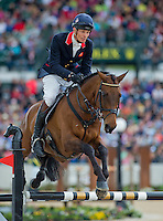 SEACOOKIE TSF, ridden by William Fox-Pitt (GBR), competes during Stadium Jumping at the Rolex 3-Day Event at the Kentucky Horse Park in Lexington, Kentucky on April 28, 2013.
