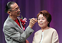 September 14, 2016, Tokyo, Japan - A 69-year-old woman Michiko Hara gets a make up from a professional make-up artist Hironori Irie at a promotional event of Japanese cosmetics giant Shiseido's Prior brand which is targeting over 50 senior women in Tokyo on Wednesday, September 14, 2016. Shiseido will have promotional events of Prior brand across Japan while Japan's Respect for the Aged Day will be coming next week.    (Photo by Yoshio Tsunoda/AFLO) LWX -ytd-