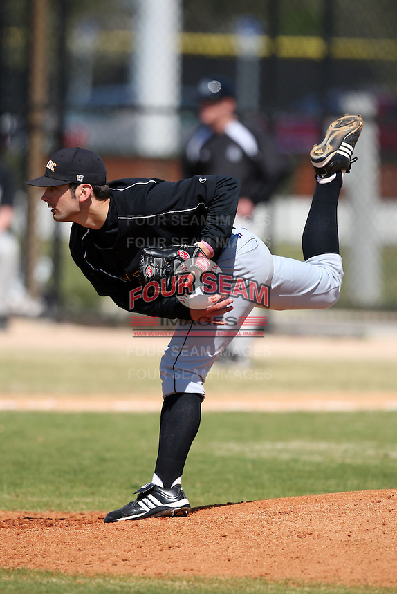 March 15, 2010:  Pitcher Andrew Germuth of UMBC vs. Long Island University at Lake Myrtle Park in Auburndale, FL.  Photo By Mike Janes/Four Seam Images