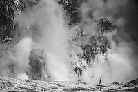 Tourist exploring White Island Volcano, an active volcano in the Bay of Plenty, North Island, New Zealand