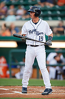 Lakeland Flying Tigers catcher Austin Athmann (19) at bat during a game against the Tampa Tarpons on April 5, 2018 at Publix Field at Joker Marchant Stadium in Lakeland, Florida.  Tampa defeated Lakeland 4-2.  (Mike Janes/Four Seam Images)