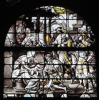 The Adoration of the Magi, from the Life of the Virgin and the Childhood of Christ grisaille stained glass window with silver and gold on white glass, 1545, by the School of Fontainebleau, in the South chapel choir of the Collegiate Church of Saint-Gervais-Saint-Protais, built 12th to 16th centuries in Gothic and Renaissance styles, in Gisors, Eure, Haute-Normandie, France. The church was consecrated in 1119 by Calixtus II but the nave was rebuilt from 1160 after a fire. The church was listed as a historic monument in 1840. Picture by Manuel Cohen
