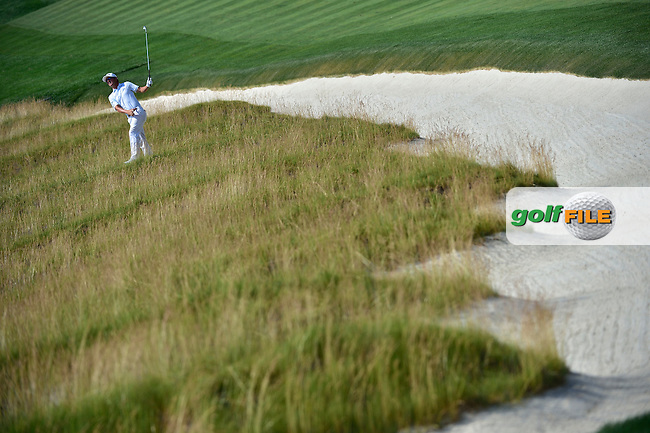 Andrew LANDDRY (USA) hits his 2nd shot at 4th from the famous Church Pew bunkers during fourth round 116th US Open 2016 ,Oakmont Country Club, Pittsburgh,Pennsylvania,USA.