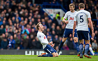 Christian Eriksen of Spurs celebrates his goal late in the first half during the Premier League match between Chelsea and Tottenham Hotspur at Stamford Bridge, London, England on 1 April 2018. Photo by Andy Rowland.