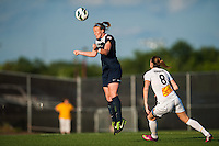 Sky Blue FC defender CoCo Goodson (2) heads the ball. The Western New York Flash defeated Sky Blue FC 3-0 during a National Women's Soccer League (NWSL) match at Yurcak Field in Piscataway, NJ, on June 8, 2013.