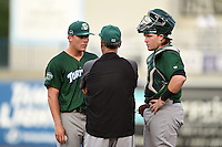 Daytona Tortugas pitcher Nick Howard (29) and catcher Chad Wallach (15) listen to pitching coach Tony Fossas during a game against the Tampa Yankees on April 24, 2015 at George M. Steinbrenner Field in Tampa, Florida.  Tampa defeated Daytona 12-7.  (Mike Janes/Four Seam Images)