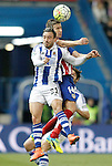 Atletico de Madrid's Gabi Fernandez (r) and Real Sociedad's Hector Hernandez during La Liga match. March 1,2016. (ALTERPHOTOS/Acero)