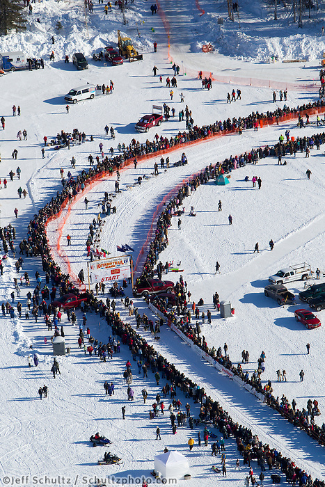 Teams line up in the start chute in Willow, Alaska duirng the re-start of the 2011 Iditarod.
