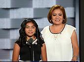 Karla, left, and Francisca, right, Ortiz make remarks at the 2016 Democratic National Convention at the Wells Fargo Center in Philadelphia, Pennsylvania on Monday, July 25, 2016.<br /> Credit: Ron Sachs / CNP<br /> (RESTRICTION: NO New York or New Jersey Newspapers or newspapers within a 75 mile radius of New York City)