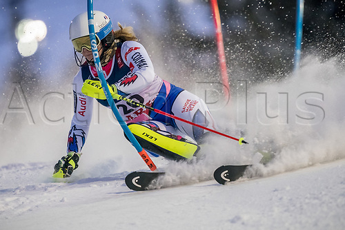 8th February 2019, Are, Sweden; Alpine skiing: Combination, ladies: Anne-Sophie Barthet from France on the slalom course.