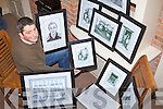 SKETCHING IT OUT: Castlemaine artist Gerard O'Dowd with a selection of his new sketches and drawings, which include portraits of Kerry footballers.