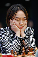 29th December 2019, Moscow, Russia;  Lei Tingjie of China competes with Koneru Humpy of India in a tie-break of the 2019 King Salman World Chess Rapid Women Championship in Moscow, RussiaCHN