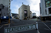 Featherston Street at 9am, Friday during Level 3 lockdown for the COVID-19 pandemic in Wellington, New Zealand on Friday, 1 May 2020. Photo: Dave Lintott / lintottphoto.co.nz