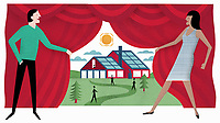 Man and woman revealing view to house with solar panels behind curtain ExclusiveImage