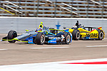 Josef Newgarden (67) and Graham Rahal (15) driver for Rahal Letterman Lanigan Racing in action during qualifying for the IZOD Indycar Firestone 550 race at Texas Motor Speedway in Fort Worth,Texas.