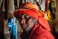 Witch healer Maria Mponha (80) during a spiritual ceremony in her 'hospital' hut.