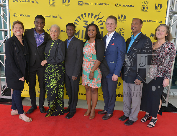 MIAMI, FL - MARCH 04: Christy McGill, Mark Valens, Nicole St. Victor, Jean-Bernard Desinat, Bernadette Williams, Owsley Brown, David César and Anne Flatté attend the Miami Film Festival screening for 'Serenade for Haiti' at Regal South Beach on March 4, 2017 in Miami, Florida.  ( Photo by Johnny Louis / jlnphotography.com )