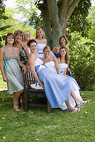 The women of a happy wedding party