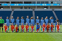 Bridgeview, IL - Saturday April 22, 2017: Chicago Red Stars Starting XI, player escorts during a regular season National Women's Soccer League (NWSL) match between the Chicago Red Stars and FC Kansas City at Toyota Park.