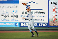 Princeton Rays right fielder Jordan Qsar (8) catches a fly ball during the game against the Pulaski Yankees at Calfee Park on July 14, 2018 in Pulaski, Virginia. The Rays defeated the Yankees 13-1.  (Brian Westerholt/Four Seam Images)
