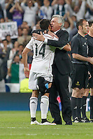 Real Madrid´s Mexican forward Chicharito celebrating with Carlo Ancelotti