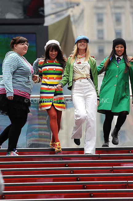 WWW.ACEPIXS.COM . . . . . ....April 25 2011, New York City....Actresses (L-R) Ashley Fink, Lea Michele , Heather Morris and Jenna Ushkowitz filming an episode of the hit series 'Glee' in Times Square on April 25 2011 in New York City....Please byline: KRISTIN CALLAHAN - ACEPIXS.COM.. . . . . . ..Ace Pictures, Inc:  ..(212) 243-8787 or (646) 679 0430..e-mail: picturedesk@acepixs.com..web: http://www.acepixs.com