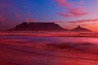 Cape Town and Table Mountain at sunset, from Blouberg Beach, South Africa