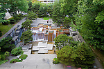 An inviting block full of terraces and platforms, Forecourt Fountain proudly nods to the region&rsquo;s abundant waterfalls. Designed by Angela Danadijeva for Lawrence Halprin and Associates, the water fountain has been a popular downtown meeting destination for generations of Portlanders and visitors since its completion in 1971.<br /> <br /> In 1978, the fountain was renamed after Ira C. Keller, noted civic leader and first chairman of the Portland Development Commission.