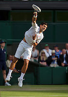 01-07-13, England, London,  AELTC, Wimbledon, Tennis, Wimbledon 2013, Day seven, Novak Djokovic (SRB)<br /> <br /> <br /> <br /> Photo: Henk Koster