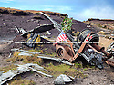 03/11/14<br /> <br /> Wreckage at a crash site where thirteen airmen were killed when their bomber hit remote moorland high up in the Peak District 66 years ago today.<br /> <br /> Amazingly, the area on Bleaklow Moor is so remote that many of the aircraft's twisted remains, including at least two of engines from the B29 Superfortress still litter the site today.<br /> <br /> The American bomber, known as 'Over-Exposed!' had been converted into a photo reconnaissance aircraft.<br /> <br /> In some of its earlier flights it had been used to photograph the nuclear bomb tests at Bikini Atoll in the Pacific Ocean and had also taken part in the Berlin airlift.<br /> Captain Landon P. Tanner took off on the morning of 3rd November 1948, at around 10.15 from Scampton, Lincolnshire heading on a routine flight to Burtonwood USAF base in Warrington. The B29 was carrying USAF wages among other things. The crew were due to return to the States in a few days.<br /> When 'Over Exposed!' failed to arrive at Burtonwood an air search was initiated, and that afternoon blazing wreckage was spotted high on the moors near Higher Shelf Stones. By chance members of the Harpur Hill RAF Mountain Rescue Unit were just finishing an exercise two and a half miles away, so they quickly made their way to the scene of the crash but there was clearly nothing that could have been done for any of the crew.<br /> This is just one of 180 military and civilian aircraft that have crashed in and around the Peak District since 1918.<br /> <br /> All Rights Reserved - F Stop Press.  www.fstoppress.com. Tel: +44 (0)1335 300098