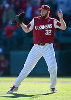 NWA Democrat-Gazette/ANDY SHUPE<br /> Arkansas closer Matt Cronin celebrates the final out against Missouri Saturday, March 16, 2019, at Baum-Walker Stadium in Fayetteville. Visit nwadg.com/photos to see more photographs from the game.
