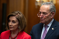 Speaker of the United States House of Representatives Nancy Pelosi (Democrat of California) and United States Senate Minority Leader Chuck Schumer (Democrat of New York) attend a press conference on the Deferred Action for Childhood Arrivals program on Capitol Hill in Washington D.C., U.S. on Tuesday, November 12, 2019.  The Supreme Court is currently hearing a case that will determine the legality and future of the DACA program.  <br /> <br /> Credit: Stefani Reynolds / CNP /MediaPunch