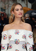 Lily James at The Guernsey Literary And Potato Peel Pie Society World Premiere at the Curzon Mayfair, London, on Monday April 9th 2018<br /> CAP/ROS<br /> &copy;ROS/Capital Pictures
