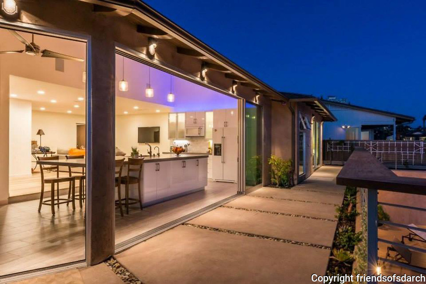Skylark on Skylark Drive, San Diego. Completed in 2013. A 2500 sq. ft. residential remodel. Redistributed the layout of main spaces. Added two new bathrooms, full kitchen, telescoping doors and all new finishes. Designed by Jen Landau Prior.