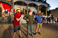 Two Roman guards (Jacob Johnson, left, and Aaron Rogers) arrest Barabbas (Bob Girkin) Tuesday, May 19, 2020, during a rehearsal for the 2020 season at The Great Passion Play in Eureka Springs. The play will open their season Friday with adjustments for cast and audience members to stay within Arkansas Department of Health social distancing guidelines. Go to nwaonline.com/photos to see more photos.<br /> (NWA Democrat-Gazette/Ben Goff)