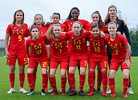 20191101 - Tubize: Belgian team for the 2nd half with up from L to R  Melissa Tom   Kyandra Faut      Dina Morselin Gonzalez   Mam Beny Bangoura   Nena Retsin   Britt De Keyzer  and down from L to R  Manola Galofaro (21)   Alixe Bosteels (7)   Estee Cattoor (11)   Adele Sayboulatova   Lea Detail (2)     pictured during the international friendly match between Red Flames U16 (Belgium) and Norway U16 on 1 November 2019 at Belgian Football Centre, Tubize. PHOTO:  SPORTPIX.BE | SEVIL OKTEM