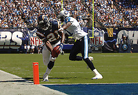 Sept. 17, 2006; San Diego, CA, USA; San Diego Chargers running back (21) LaDainian Tomlinson scores a touchdown against the Tennessee Titans in the second quarter at Qualcomm Stadium in San Diego, CA. Mandatory Credit: Mark J. Rebilas