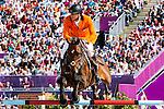 Engeland, London, 6 Augustus 2012.Olympische Spelen London.Paardensport Jumping voor landen teams .Jur Vrieling (Bubalu), Maikel van der Vleuten (Verdi), Marc Houtzager (Tamino) en Gerco Schröder (London) pakten het zilver