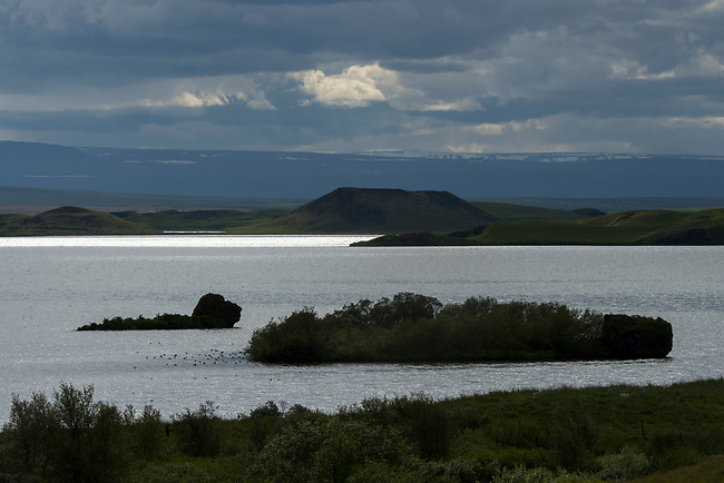 View of Lake Myvatn in Northeast Iceland.